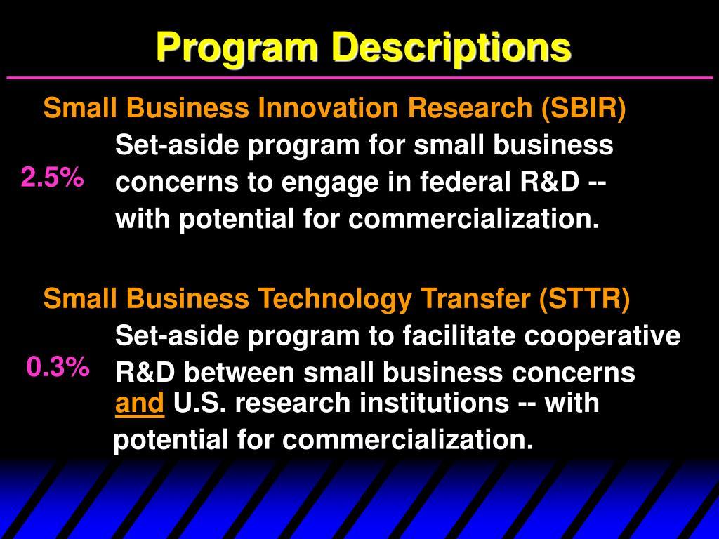 Program Descriptions