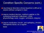 condition specific concerns cont