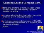 condition specific concerns cont8