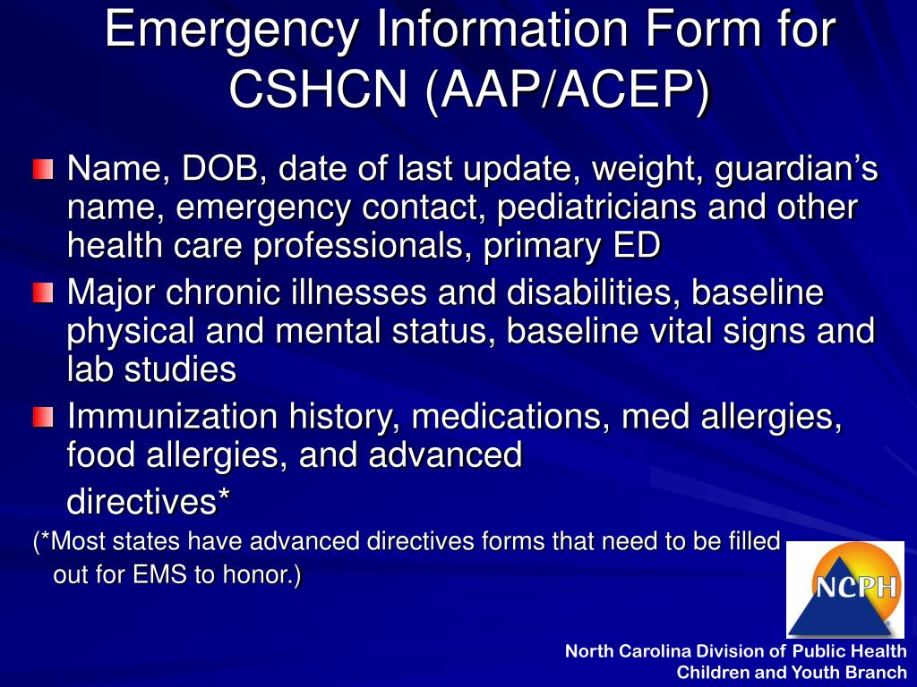 Emergency Information Form for CSHCN (AAP/ACEP)