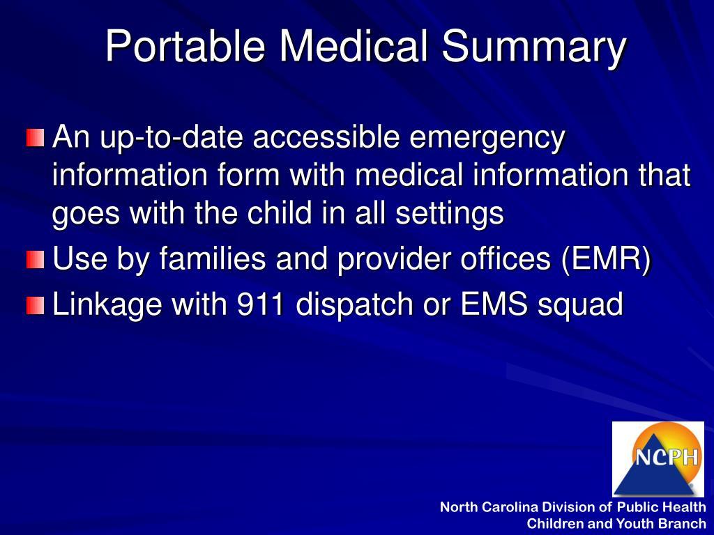 Portable Medical Summary