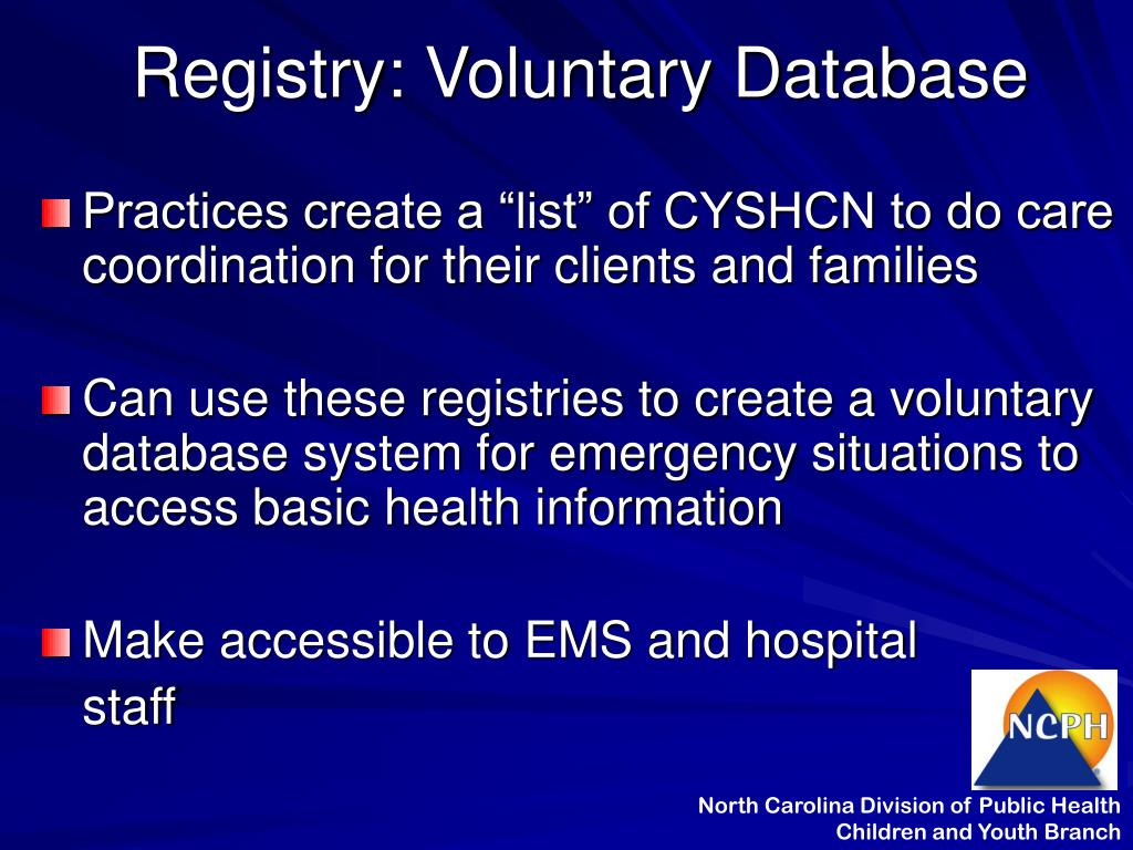 Registry: Voluntary Database