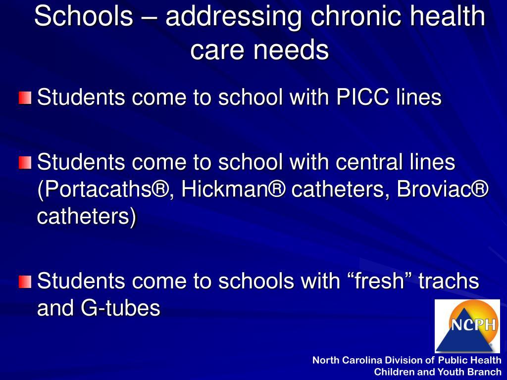 Schools – addressing chronic health care needs