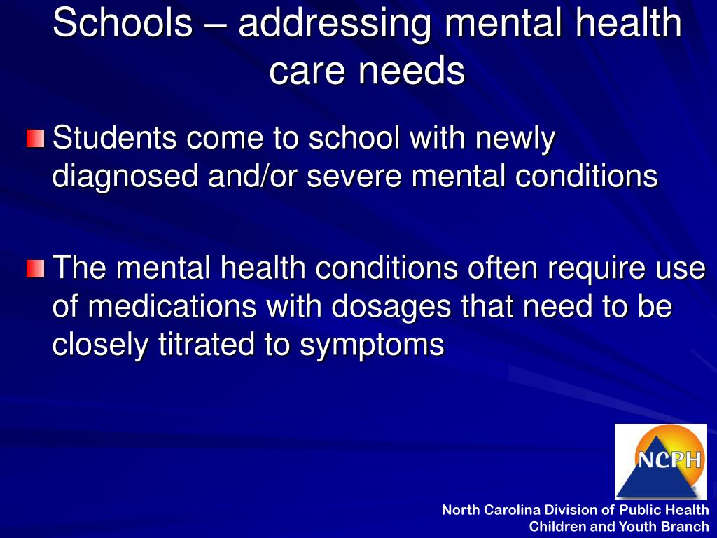 Schools – addressing mental health care needs