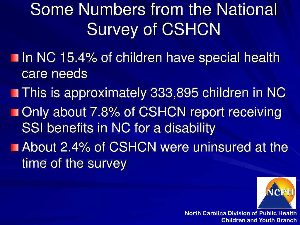 Some Numbers from the National Survey of CSHCN