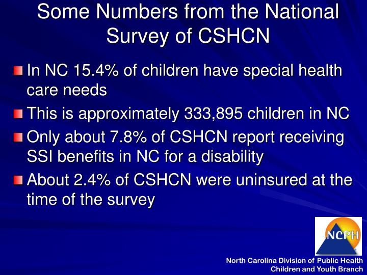 Some numbers from the national survey of cshcn l.jpg