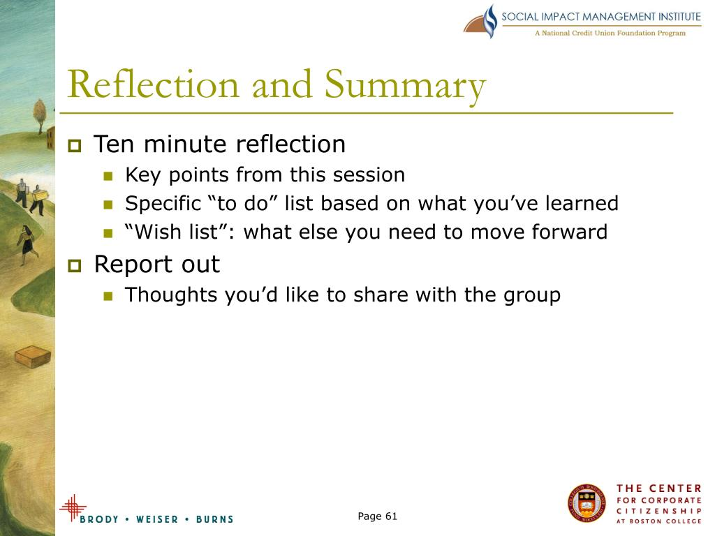 Reflection and Summary