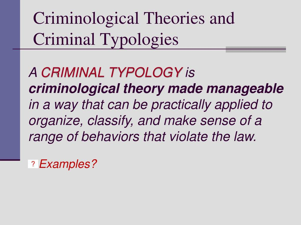 Criminological Theories and Criminal Typologies