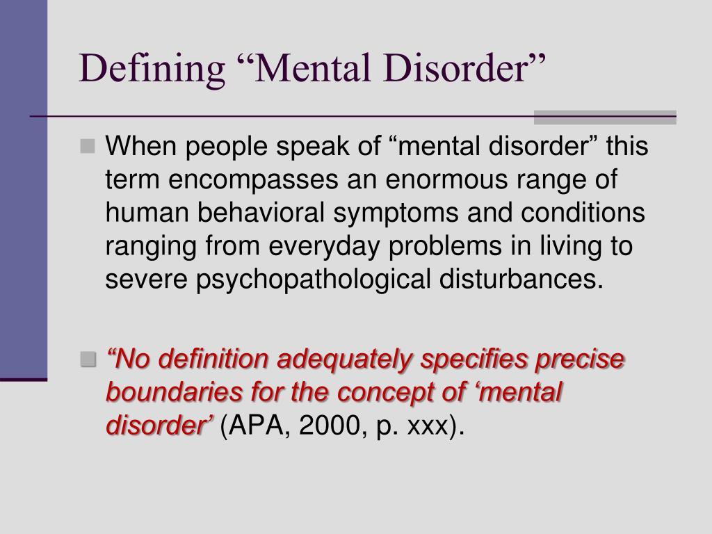 """Defining """"Mental Disorder"""""""
