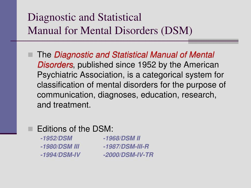 Diagnostic and Statistical