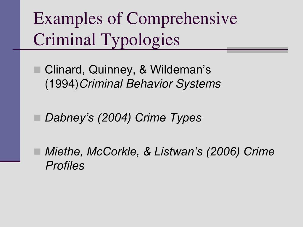Examples of Comprehensive Criminal Typologies