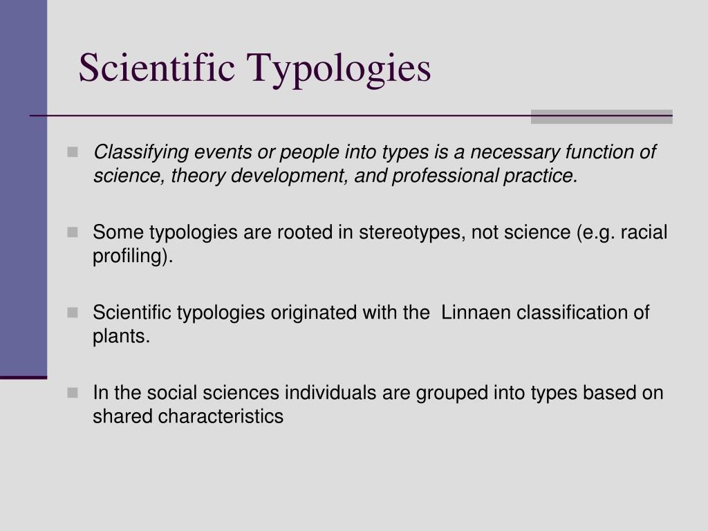 Scientific Typologies