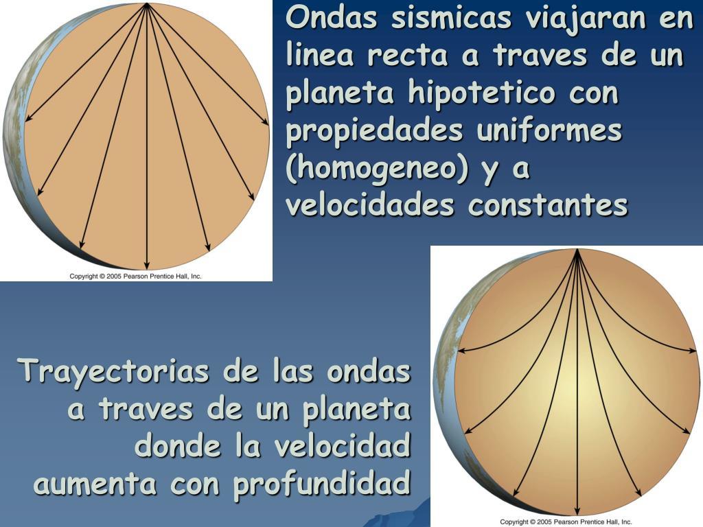 Ondas sismicas viajaran en linea recta a traves de un planeta hipotetico con propiedades uniformes (homogeneo) y a velocidades constantes