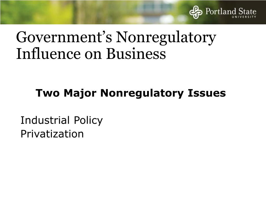 Government's Nonregulatory Influence on Business