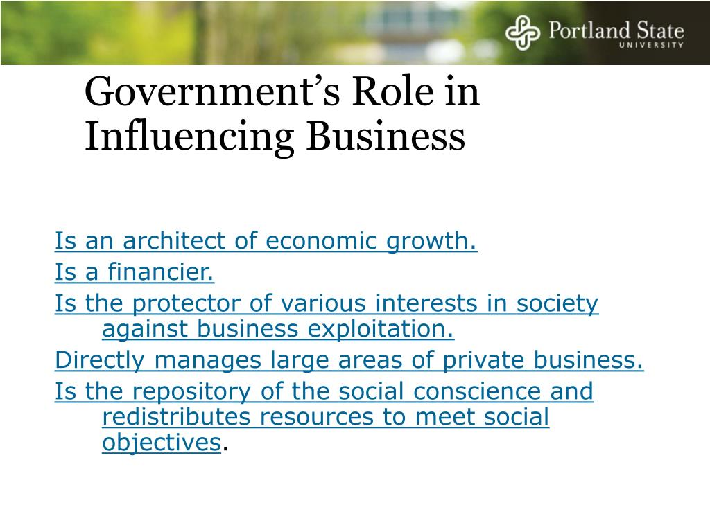 Government's Role in Influencing Business