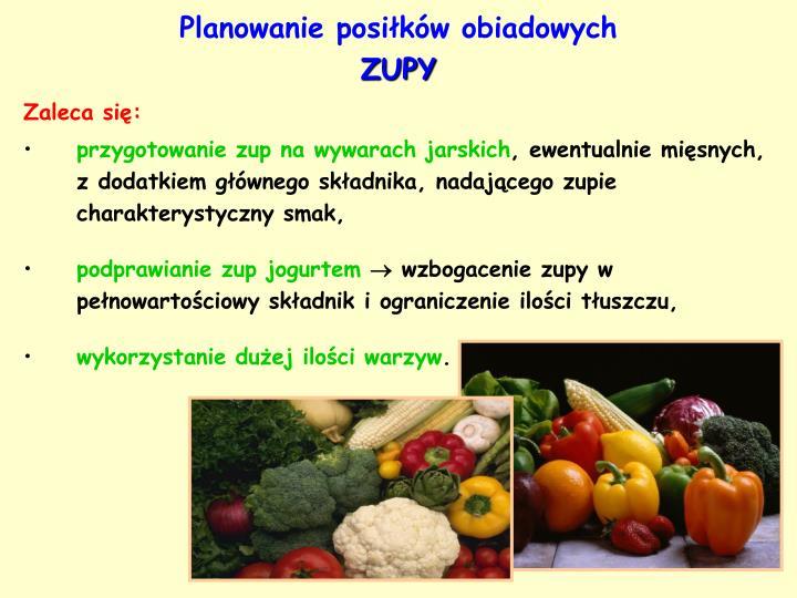 Planowanie posiłków obiadowych