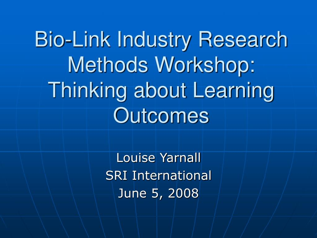Bio-Link Industry Research Methods Workshop: