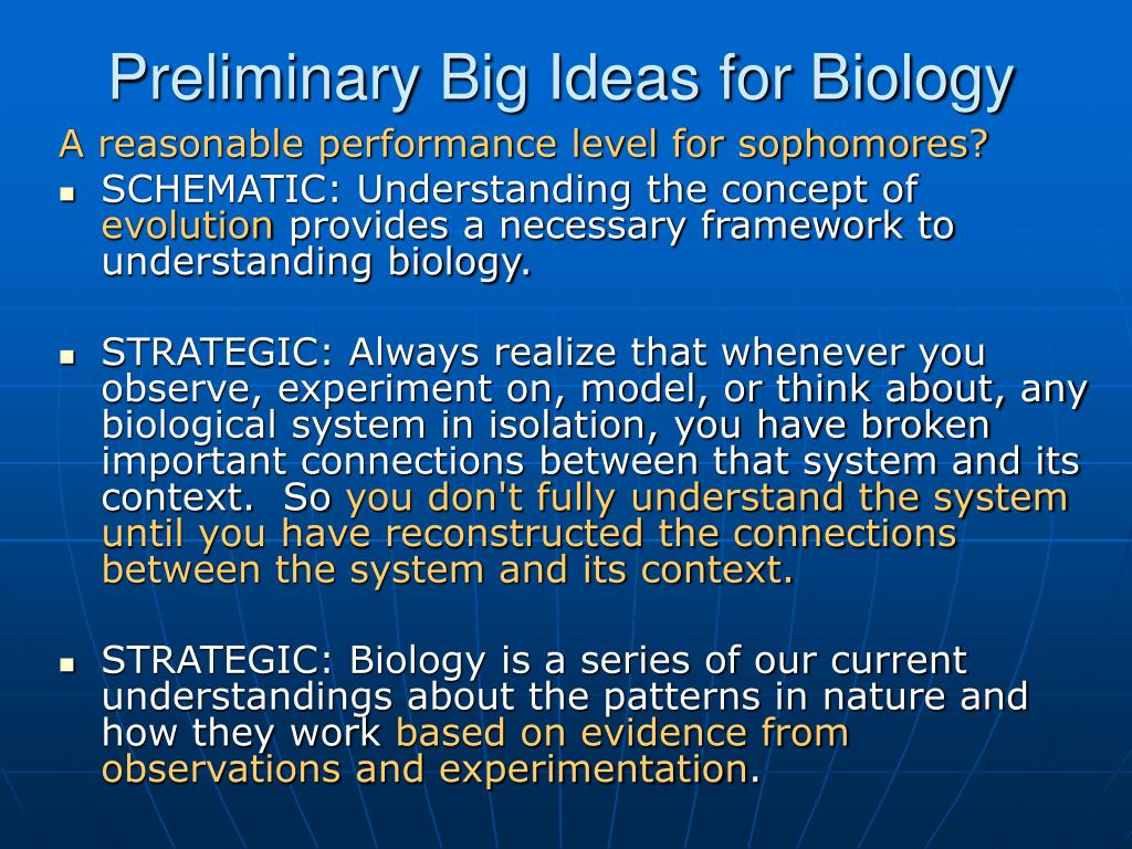 Preliminary Big Ideas for Biology