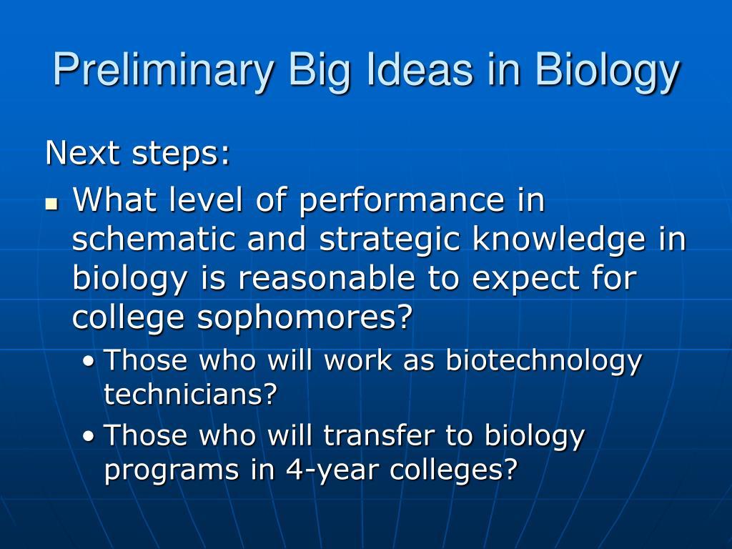 Preliminary Big Ideas in Biology