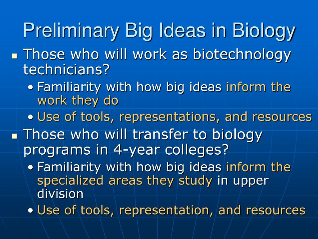 Preliminary Big Ideas in Biology