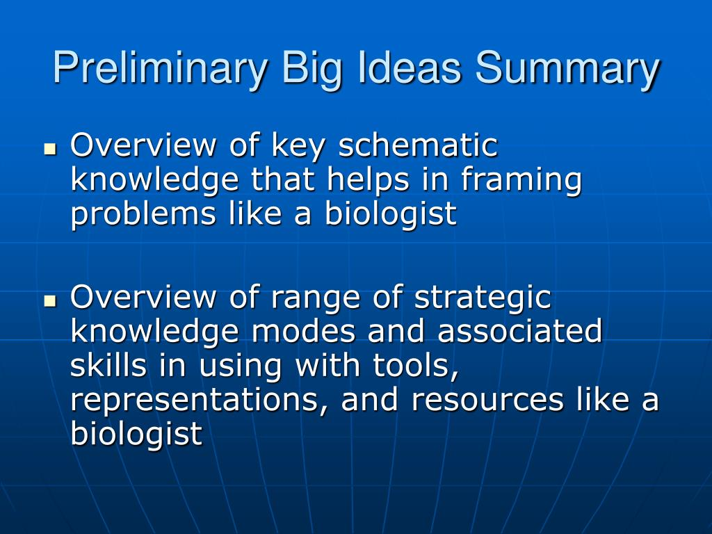 Preliminary Big Ideas Summary