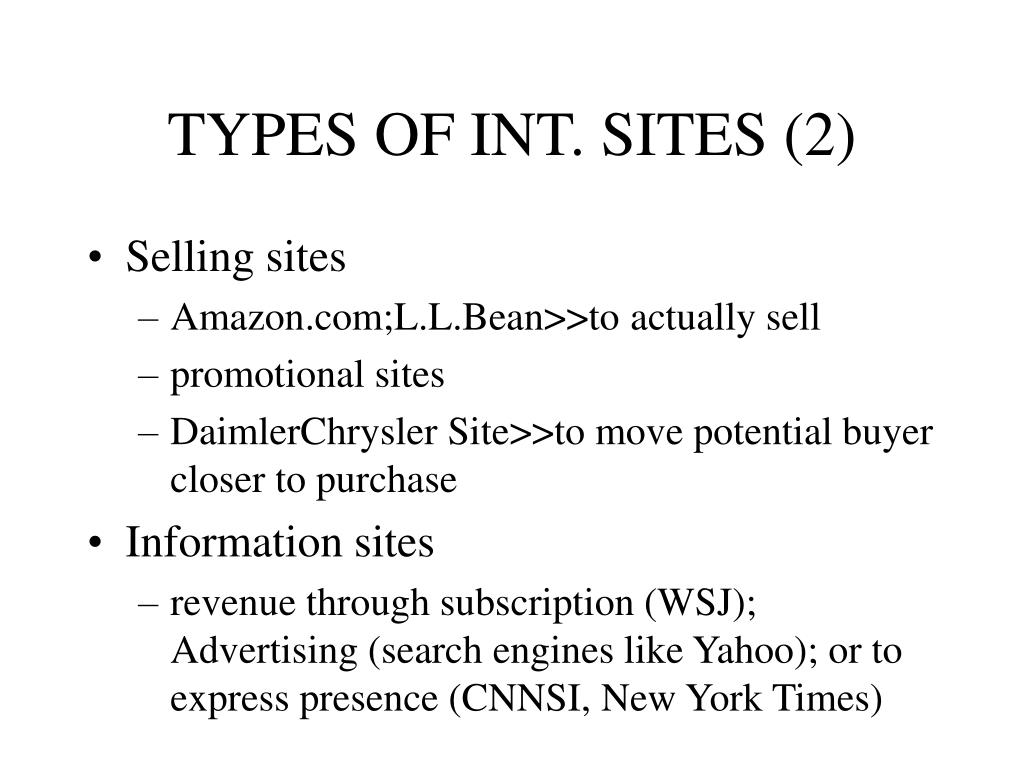 TYPES OF INT. SITES (2)