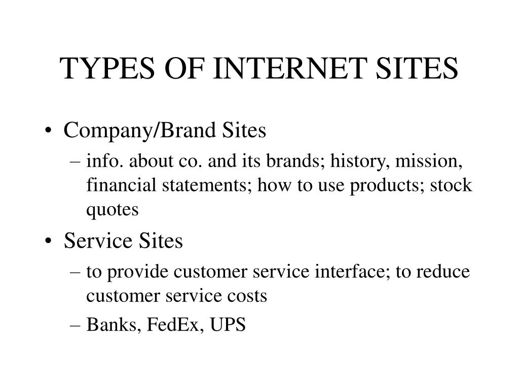 TYPES OF INTERNET SITES
