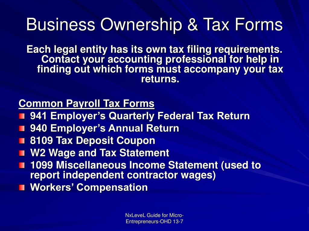 Business Ownership & Tax Forms