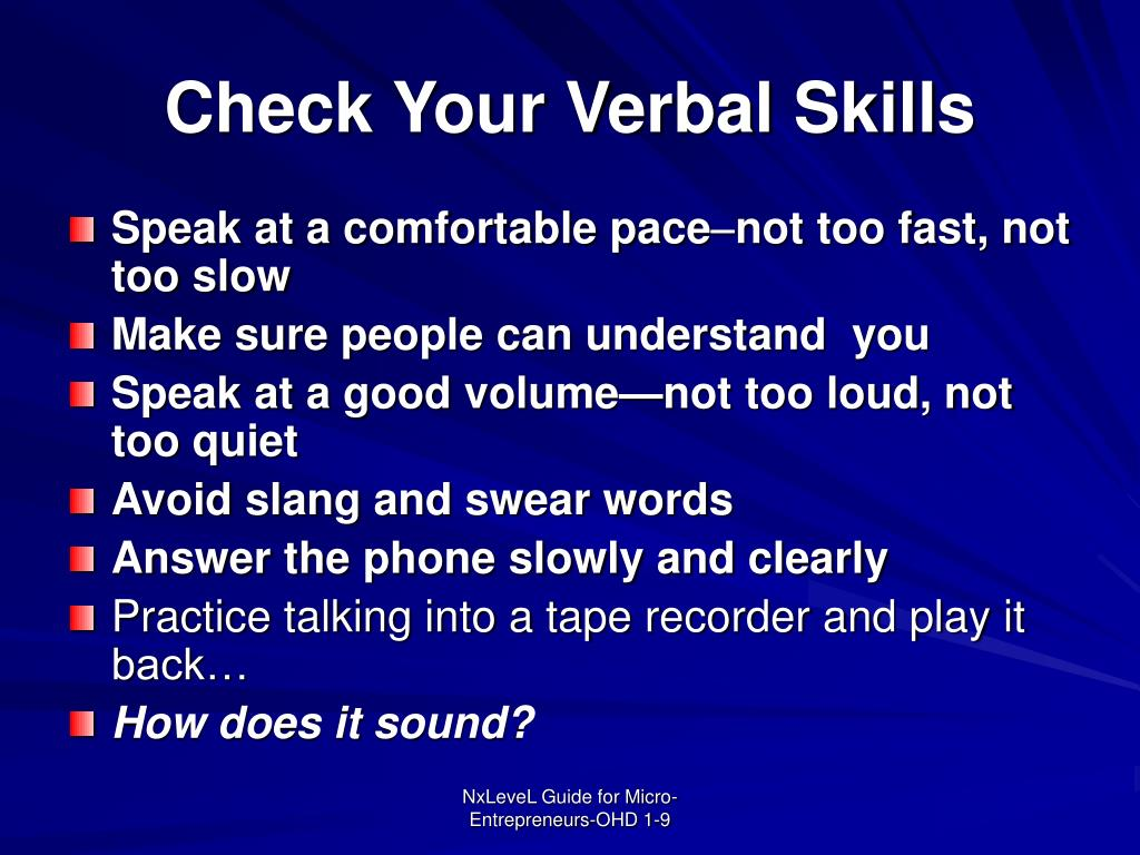 Check Your Verbal Skills