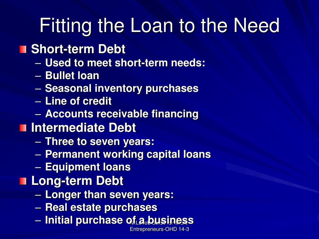 Fitting the Loan to the Need