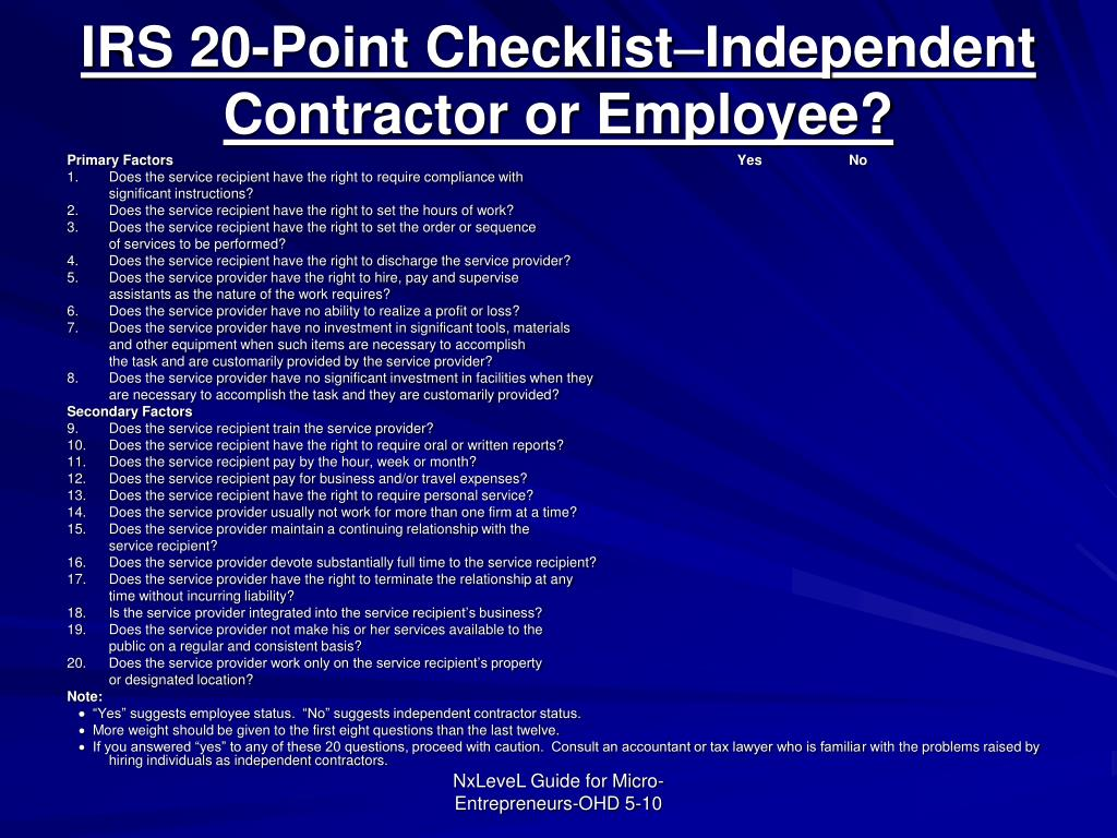 IRS 20-Point Checklist