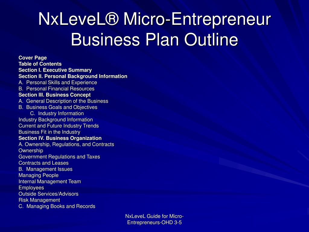 NxLeveL® Micro-Entrepreneur Business Plan Outline
