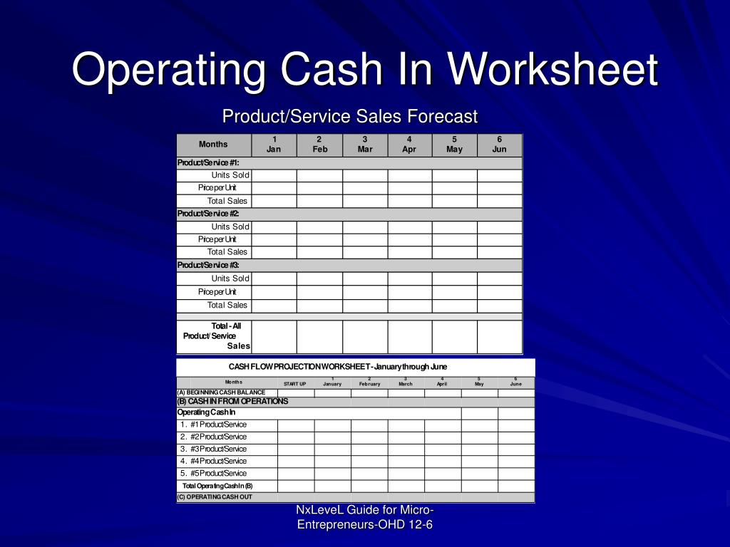 Operating Cash In Worksheet