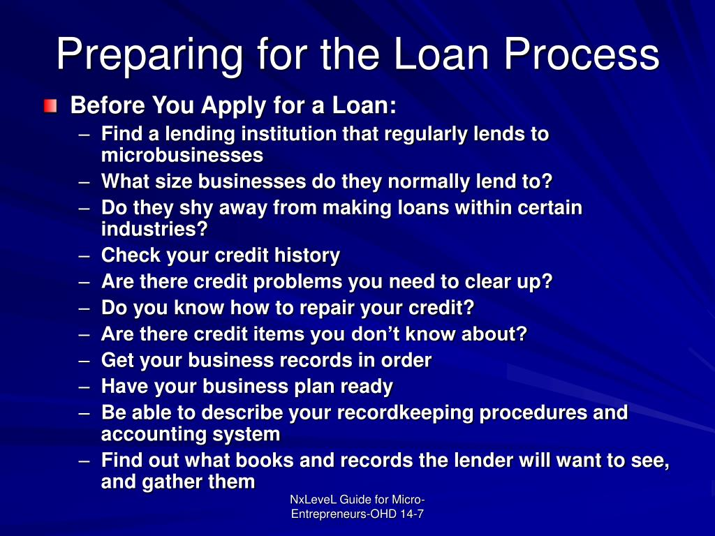 Preparing for the Loan Process