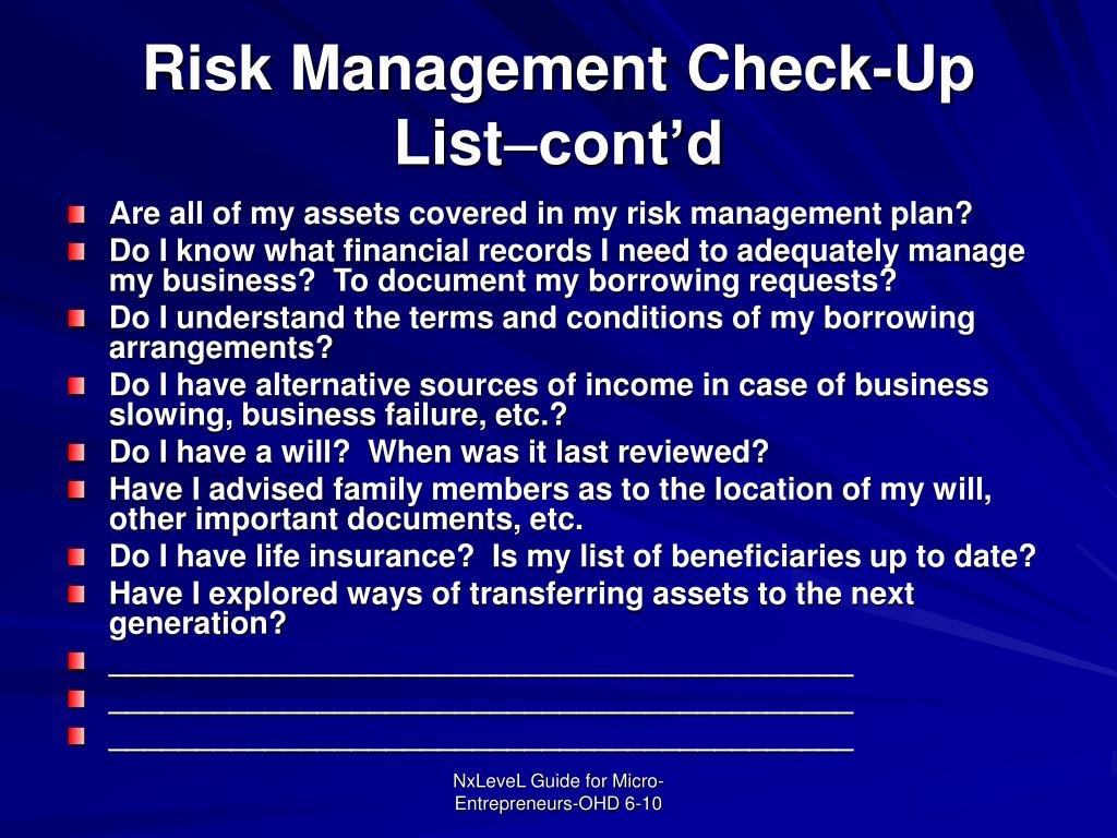 Risk Management Check-Up List