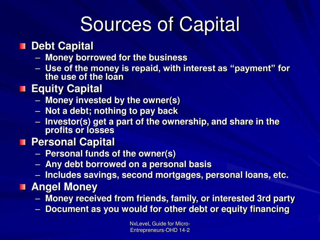 Sources of Capital