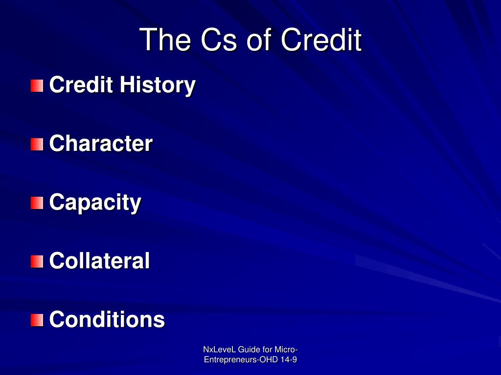 The Cs of Credit