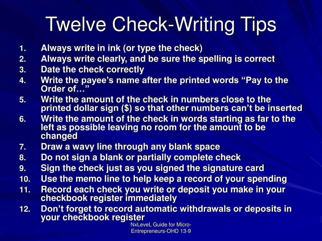 Twelve Check-Writing Tips