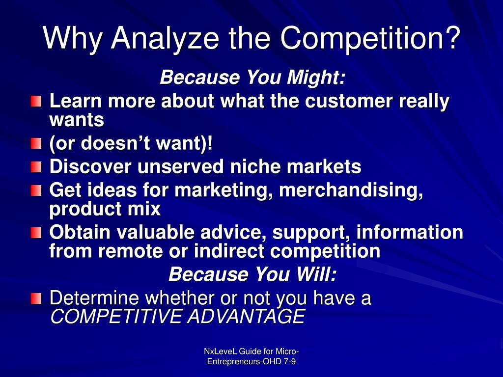 Why Analyze the Competition?