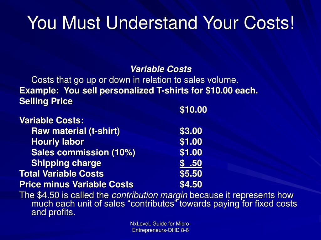 You Must Understand Your Costs!