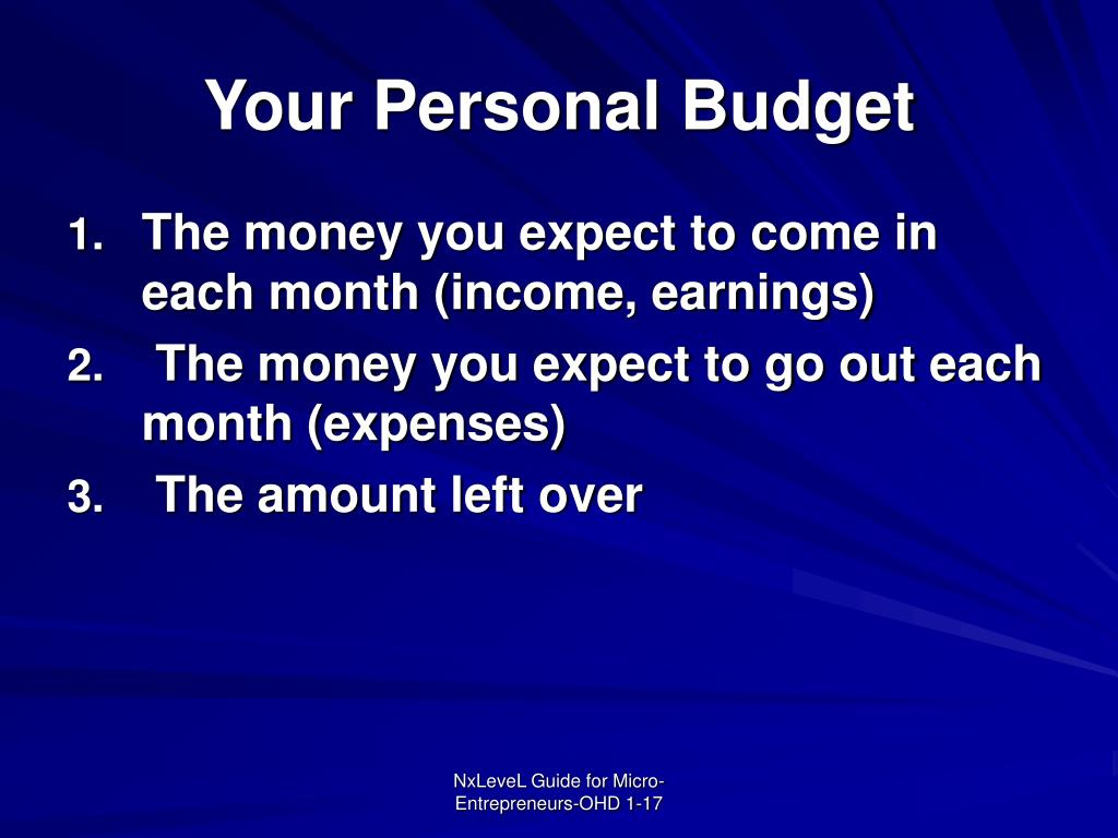 Your Personal Budget