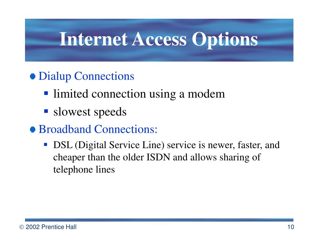 Internet Access Options