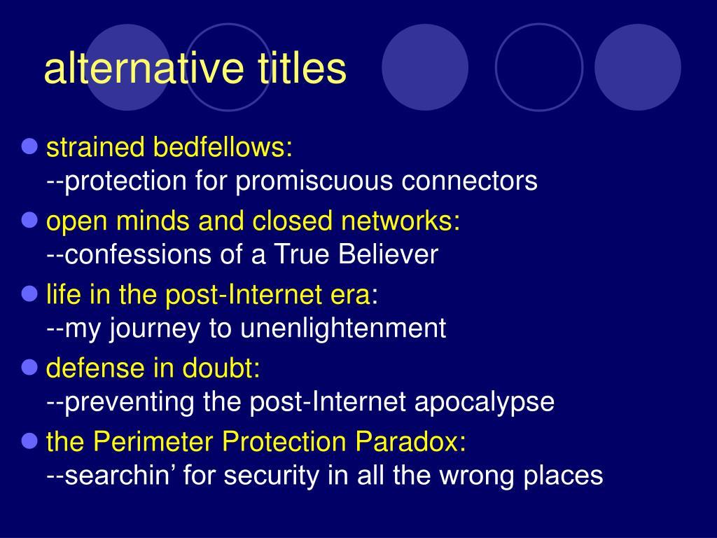 alternative titles