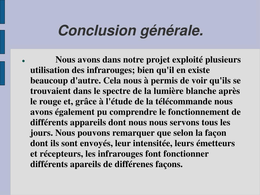 Conclusion générale.
