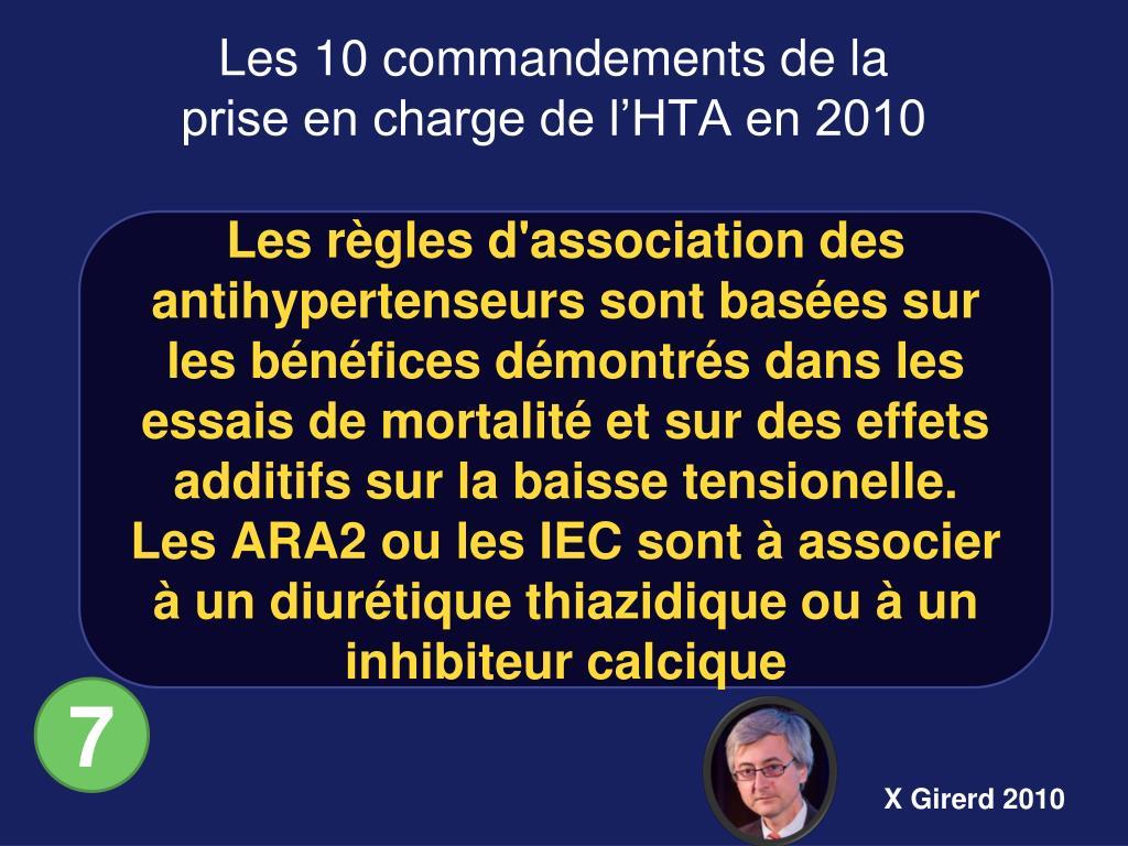 Les règles d'association des antihypertenseurs sont basées sur les bénéfices démontrés dans les essais de mortalité et sur des effets additifs sur la baisse tensionelle.