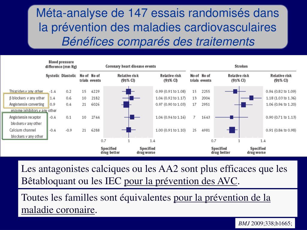 Méta-analyse de 147 essais randomisés dans la prévention des maladies cardiovasculaires