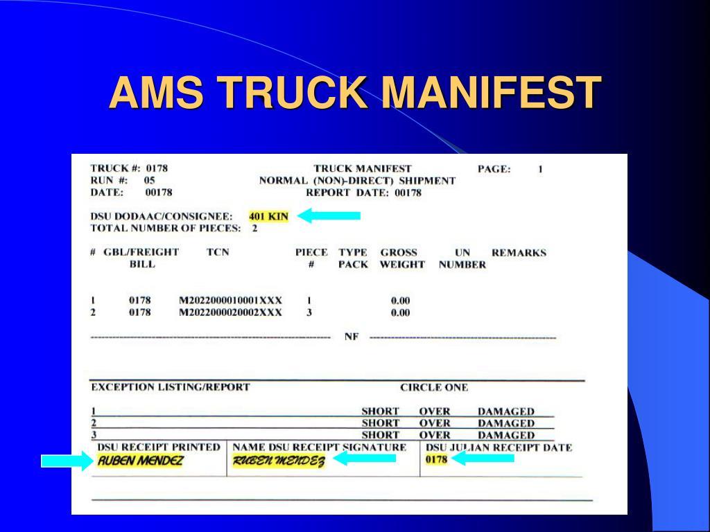 AMS TRUCK MANIFEST