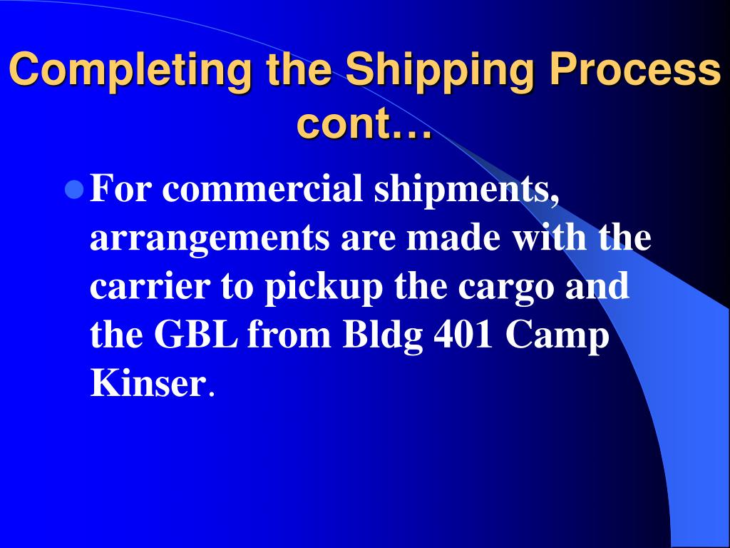 Completing the Shipping Process cont…
