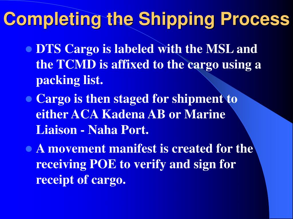 Completing the Shipping Process