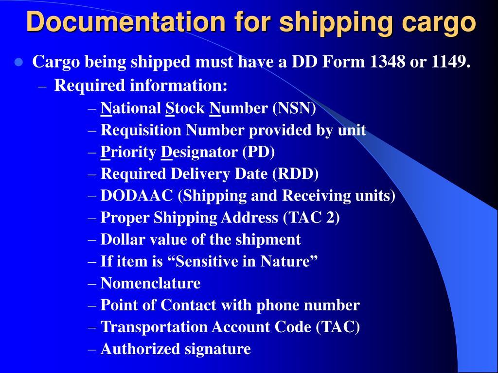 Documentation for shipping cargo